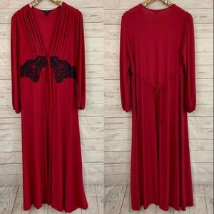 Soma soft stretch red black lace tie maxi robe